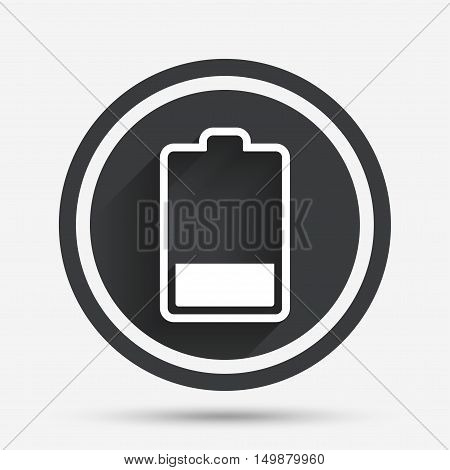 Battery low level sign icon. Electricity symbol. Circle flat button with shadow and border. Vector