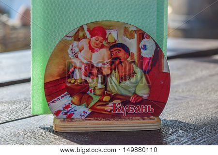 Stand For Napkins With Painted Cossack And A Cossack Woman