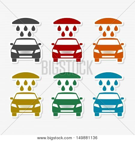 Car wash icons set on gray background