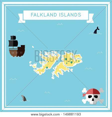 Flat Treasure Map Of Falkland Islands (malvinas). Colorful Cartoon With Icons Of Ship, Jolly Roger,