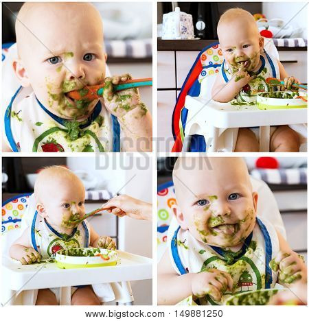 Collage photos of baby's first solid food. Adorable baby child eating with a spoon in high chair. Baby's first solid food