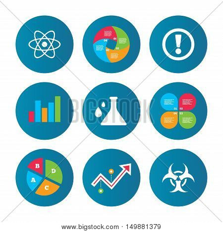 Business pie chart. Growth curve. Presentation buttons. Attention and biohazard icons. Chemistry flask sign. Atom symbol. Data analysis. Vector