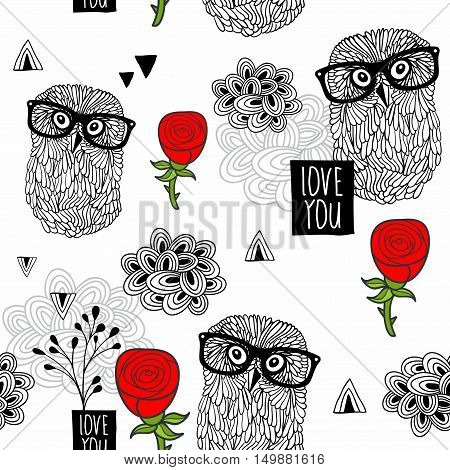 Clever owls seamless pattern on white background. Vector design illustration.