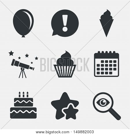 Birthday party icons. Cake with ice cream signs. Air balloon symbol. Attention, investigate and stars icons. Telescope and calendar signs. Vector