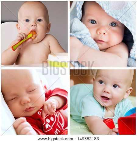 Collage of photos baby child daily routine - eating bathing sleeping and playing. Collage of Lifestyle Maternity Family Baby 0-12 months. Photos of baby child development employment and activity.