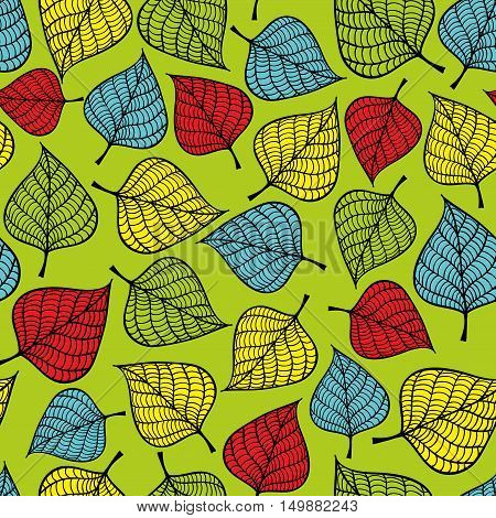 Seamless pattern with falling leaves. Romantic autumn background.