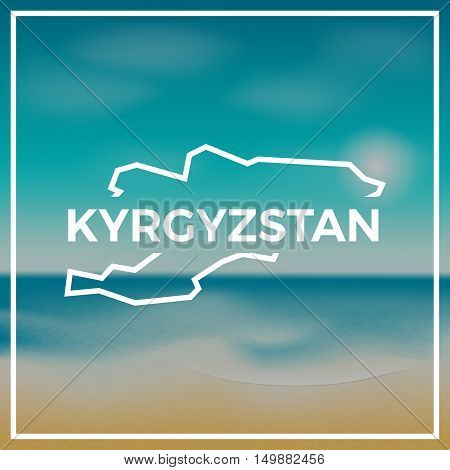 Kyrgyzstan Map Rough Outline Against The Backdrop Of Beach And Tropical Sea With Bright Sun.