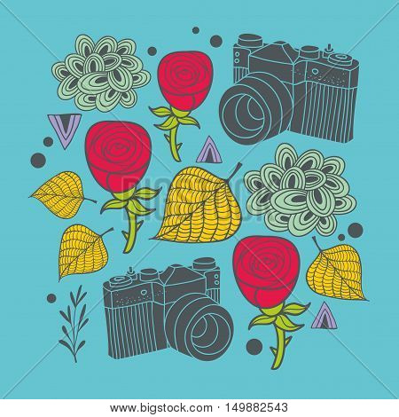 Beautiful print with vintage photo camera and design elements. Vector colorful illustration.