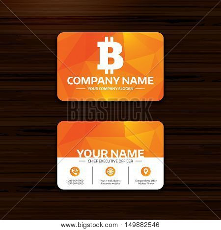 Business or visiting card template. Bitcoin sign icon. Cryptography currency symbol. P2P. Phone, globe and pointer icons. Vector