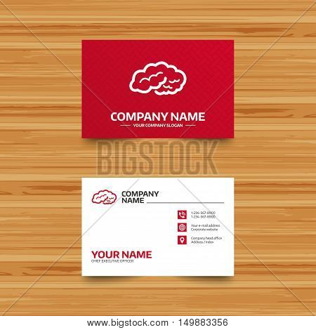 Business card template. Brain sign icon. Human intelligent smart mind. Phone, globe and pointer icons. Visiting card design. Vector