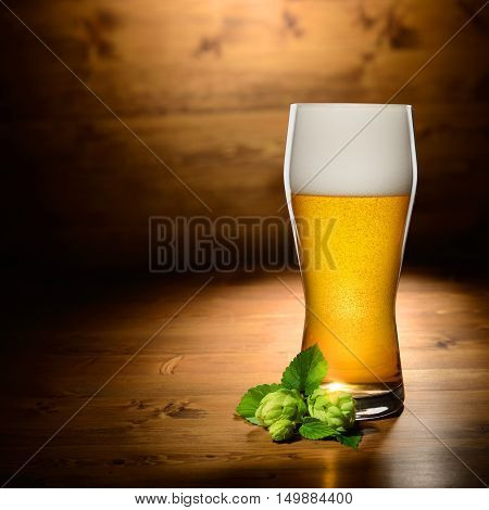 Glass Of Beer And Hop