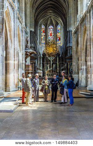 People Visit The Catholic Church Of Saint Merri In Paris
