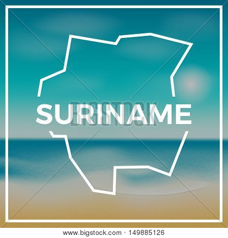 Suriname Map Rough Outline Against The Backdrop Of Beach And Tropical Sea With Bright Sun.