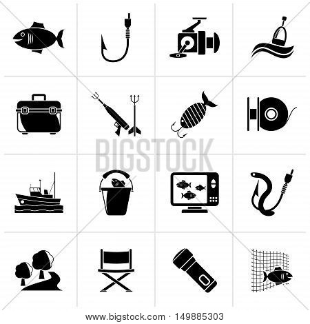 Black Fishing industry icons - vector icon set