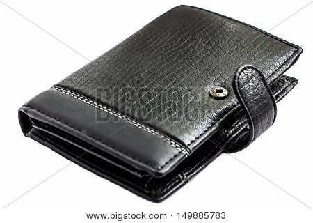 Black wallet Isolated on a white background. Wallet open clasp