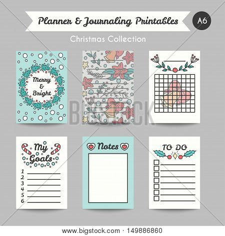 Christmas Printable Journaling Cards. Line Style Bullet Jornal Pages with Winter Season Illustrations. Vector Set of Notes and To Do List. Planner for Goals.