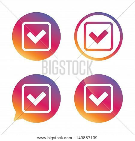 Check mark sign icon. Yes square symbol. Confirm approved. Gradient buttons with flat icon. Speech bubble sign. Vector