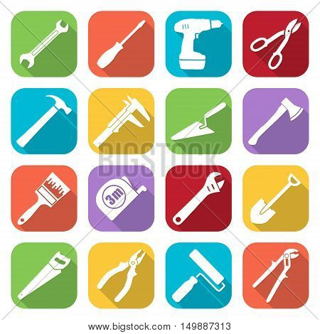 Set of sixteen tools flat style icons on a different color backgrounds. Vector illustration