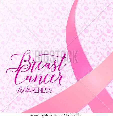 Vector illustration of breast cancer ribbons and heart women awareness background. Breast cancer pink card with ribbon and text lettering sign breast cancer awareness