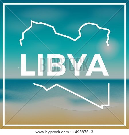 Libya Map Rough Outline Against The Backdrop Of Beach And Tropical Sea With Bright Sun.