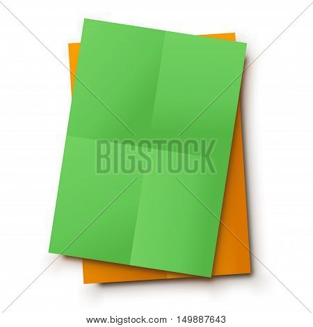 illustration of green and orange color paper lists lying on white background