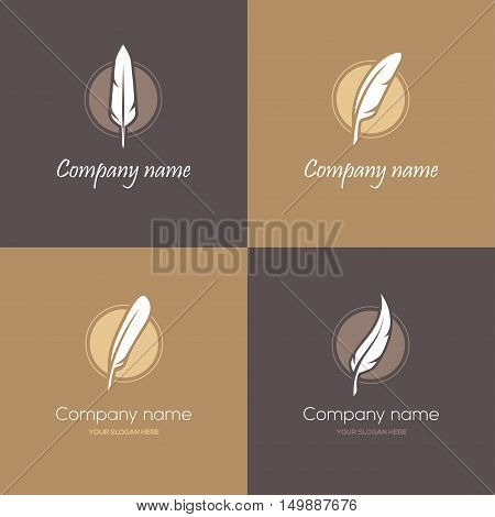 Set of four round symbols with feathers in brown and golden colors. Can be used as logo for law firm lawyer or writer literary or educational concepts etc.