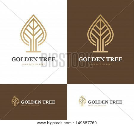 Abstract golden tree or leaf logo on brown background