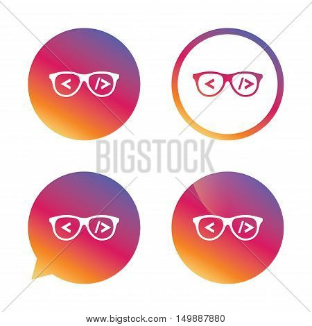 Coder sign icon. Programmer symbol. Glasses icon. Gradient buttons with flat icon. Speech bubble sign. Vector