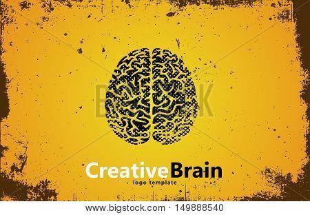 Brain logo design. Creative brain. Grunge style brain