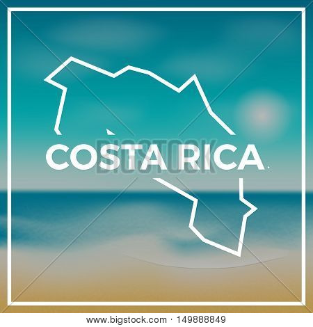 Costa Rica Map Rough Outline Against The Backdrop Of Beach And Tropical Sea With Bright Sun.