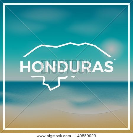 Honduras Map Rough Outline Against The Backdrop Of Beach And Tropical Sea With Bright Sun.