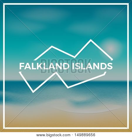 Falkland Islands (malvinas) Map Rough Outline Against The Backdrop Of Beach And Tropical Sea With Br