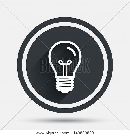 Light bulb icon. Lamp E27 screw socket symbol. Illumination sign. Circle flat button with shadow and border. Vector