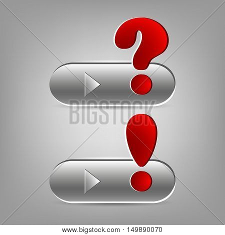A set of question and exclamation marks on buttons. Vector illustration.