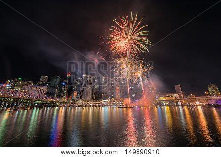 Fireworks celebration  in the Darling Harbour Sydney Australia.Oct 03,2016 See fabulous fireworks light up the Sydney night sky at Darling Harbour every Saturday.