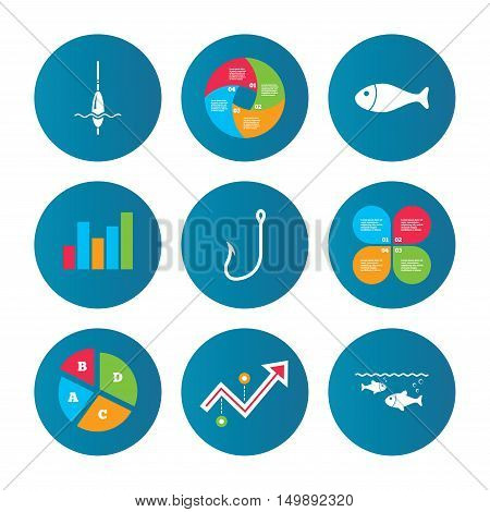 Business pie chart. Growth curve. Presentation buttons. Fishing icons. Fish with fishermen hook sign. Float bobber symbol. Data analysis. Vector