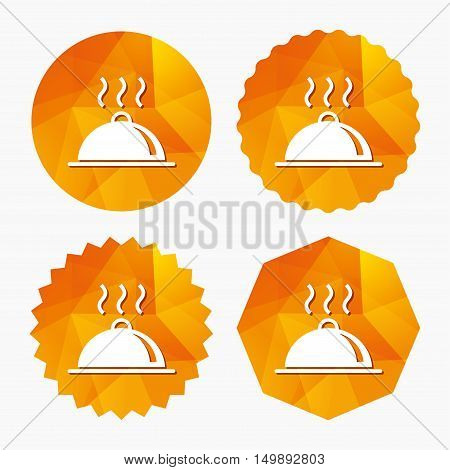 Food platter serving sign icon. Table setting in restaurant symbol. Hot warm meal. Triangular low poly buttons with flat icon. Vector