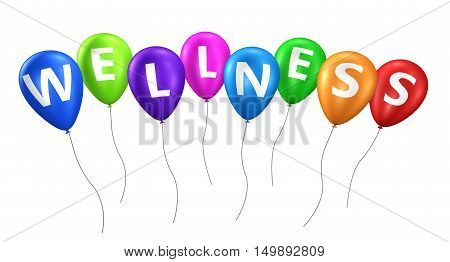 Wellness sign on colorful balloons concept 3D illustration.