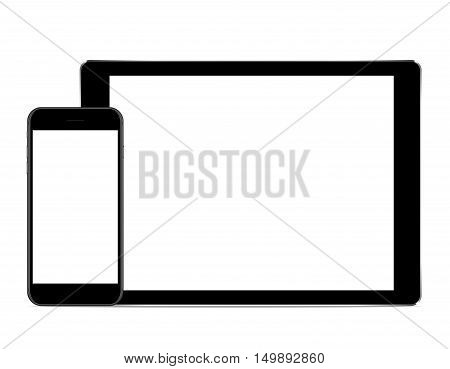 vector mock up phone and tablet black color on white background