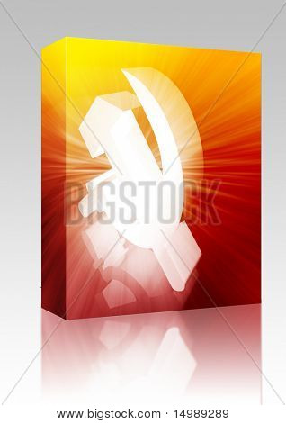 Software package box Soviet USSR hammer and sickle political symbol