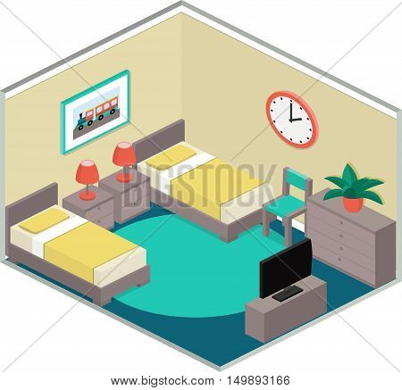Modern bedroom design with furniture including two beds. Colorful interior in isometric style. Vector 3D illustration.