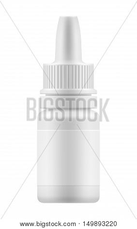 Nasal or eye dropper for nose or eye health. Realistic white plastic container for fluid. Mockup bottle with medical drug for nose or eye . Pharmacy blank packing medication vector illustration
