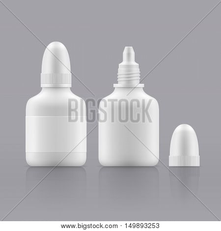 Vector nasal or eye dropper. Open and closed white plastic bottles. Container with medical drug for nose or eye. Blank packing - vector isolated illustration