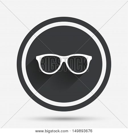 Retro glasses sign icon. Eyeglass frame symbol. Circle flat button with shadow and border. Vector