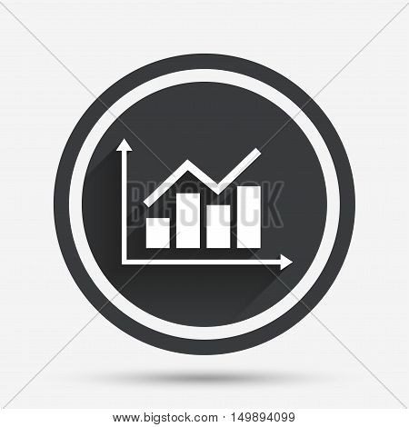 Graph chart sign icon. Diagram symbol. Statistics. Circle flat button with shadow and border. Vector