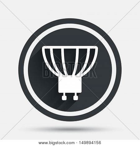 Light bulb icon. Lamp GU10 socket symbol. Led or halogen light sign. Circle flat button with shadow and border. Vector