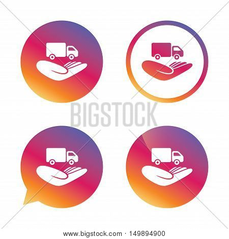 Company vehicles insurance sign icon. Hand holds delivery truck. Protection vehicle from damage and accidents. Gradient buttons with flat icon. Speech bubble sign. Vector