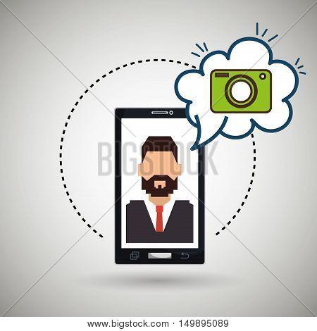 cartoon man smartphone camera vector illustration eps 10