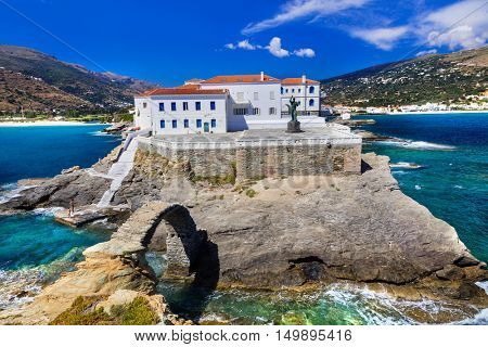 Authentic greek islands -  Andros,Cyclades. View of Chora village