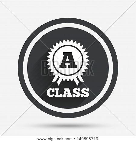 A-class award icon. Premium level symbol. Energy efficiency sign. Circle flat button with shadow and border. Vector